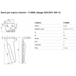 Zappa tipo ALPEGO PIPA DD3/DF4 Int. 60 F. 17 P. 100x12