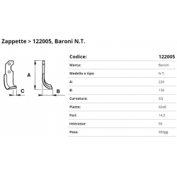 Zappa tipo BARONI   Int. 56  F.14,5 P. 60x8 C