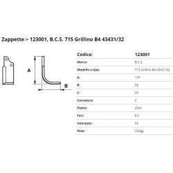 Zappa tipo BCS  Int. 55 F.  8,5 P.25x6 C (zappa/01)