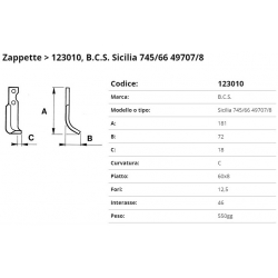 Zappa tipo BCS Int. 46  F.12,5 P.60x8 C