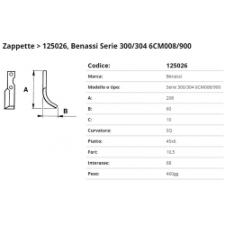 Zappa tipo BENASSI Int. 68 F.10,5 P. 45x6 SQ