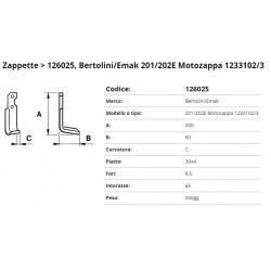 Zappa tipo BERTOLINI Int. 65 F. 8.5 P. 30x4 C (ZAPPA/05)=176013