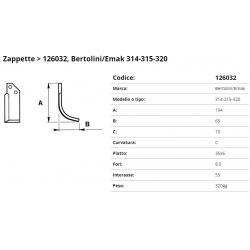 Zappa tipo BERTOLINI Int. 55 F.  8,5  P.35x6 C