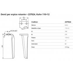 Zappa tipo KUHN Dente Int. 68  F.17     P.110x12