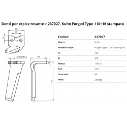 Zappa tipo KUHN Int. 68  F.16,5  P.110x16 PIPA
