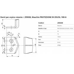Zappa tipo MASCHIO Dente Int.  50-60 F. 16,5 P. 100x6