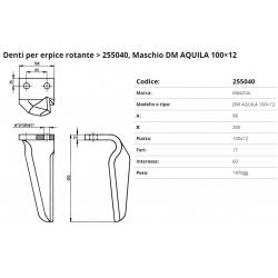 Zappa tipo MASCHIO Dente Int.  60 F. 17 P. 100x12