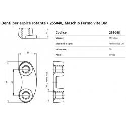 Zappa tipo MASCHIO Dente Int.  60 F. 16 (Ferma Vite)