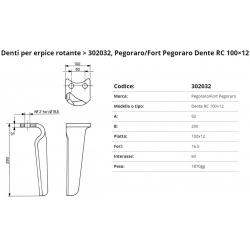 Zappa tipo PEGORARO Dente Int. 60  F.16,5  P.100x12