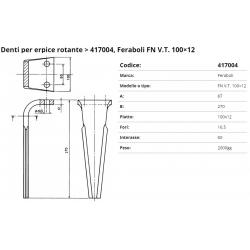 Zappa tipo FERABOLI Dente PIPA Int. 60 F. 16.5 P. 100x12