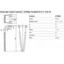 Zappa tipo FERABOLI Dente PIPA Int. 60 F.20.5  P.106x15