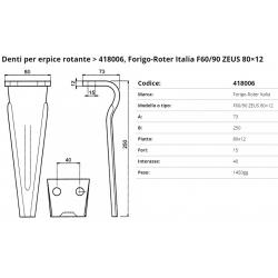 Zappa tipo FORIGO Dente  Int.40 F.15 P. 80x12