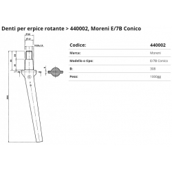 Zappa tipo MORENI Dente Conico E/7B F. 29