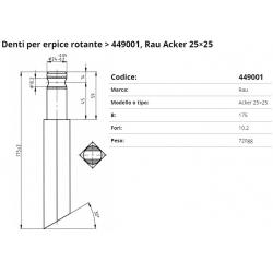 Zappa tipo RAU ACKER Dente F. 10.5 P. 25x25