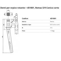 Zappa tipo REMAC E/9 L.315 Ø 20 Dente x Erpice Rot.