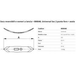 SOCS 2 punte piatto per coltiv. Int. 45/52 F. 21x13 P. 60x10