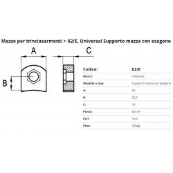 Supporto per mazza S/esag. F. 16.5 P. 50x18