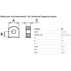 Supporto per mazza  F. 16.5 P. 50x18