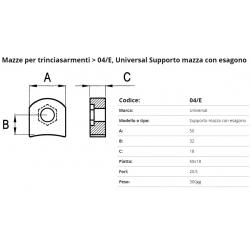 Supporto mazze EM04/E F. 20,5 50 X 18