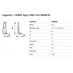Zappa tipo AGRIA 3 Fori Int. 36 F. 10,5 P. 70x6