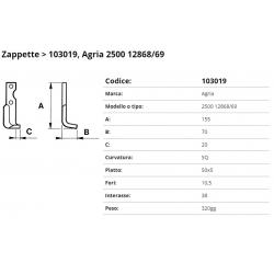Zappa tipo AGRIA Int. 38 F. 10.5 P. 50x5 SQ