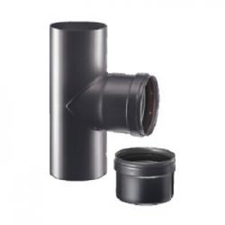 Tees pellet Ø 80 M/F/M c/tappo scarico condensa nero